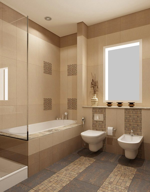 Good Cream Tiles Bathroom Ideas Part - 1: Beige Bathroom Design