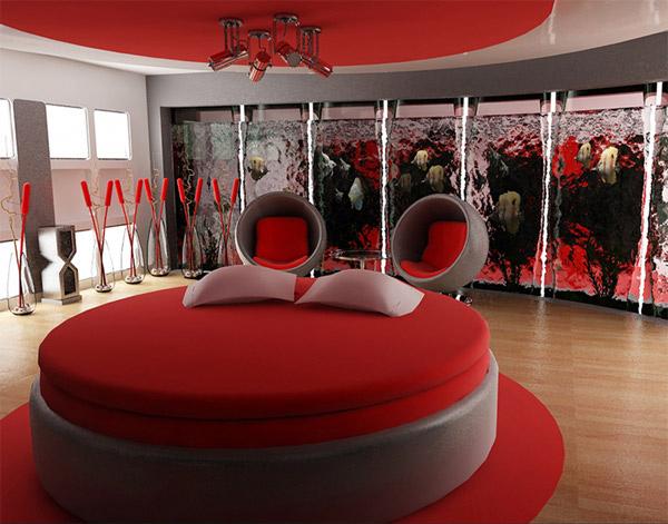 Red Bedroom Night