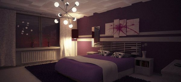 purple bedroom nighttime