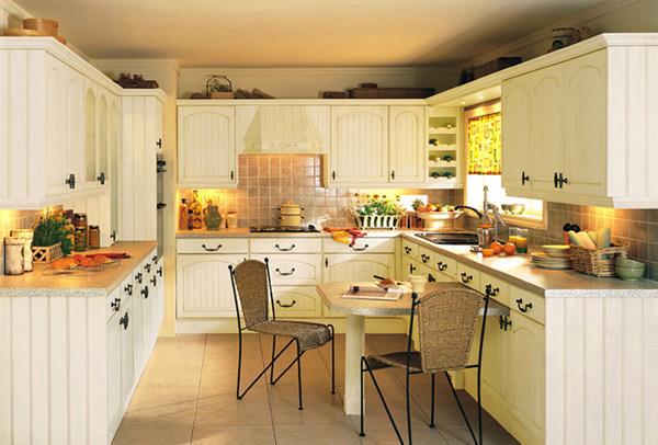Cream colored cabinets