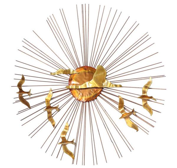 Brass Sunburst and Flying Birds