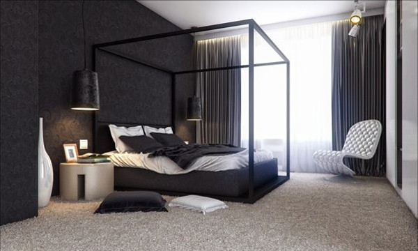 16 classy black and white bedroom designs home design lover for Black and white wallpaper for bedroom