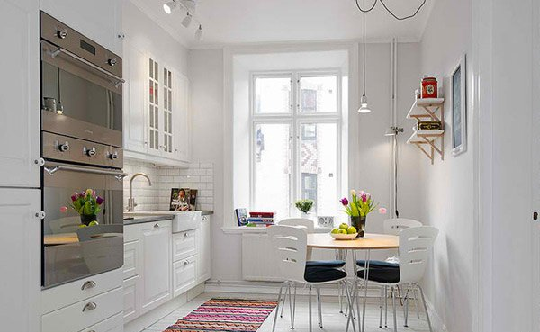 white dining kitchen