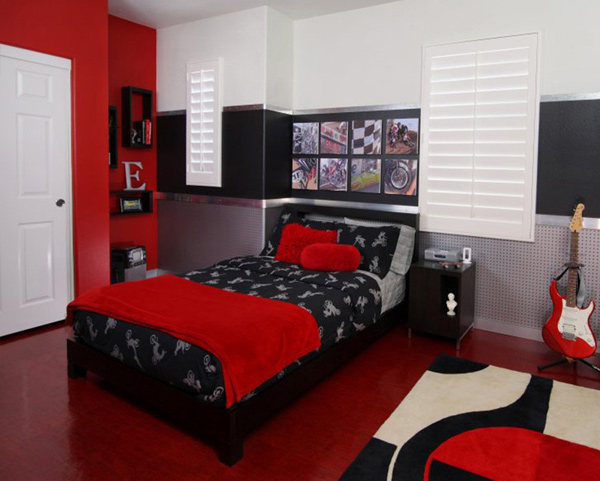 15 invigorating red bedroom designs home design lover for Male teenage bedroom ideas