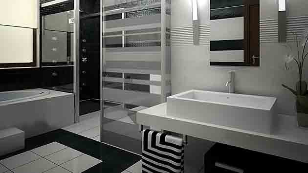 20 eye catching and luxurious black and white bathrooms for Bathroom design ideas black and white