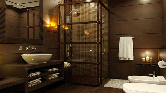 a wooden bathroom designs