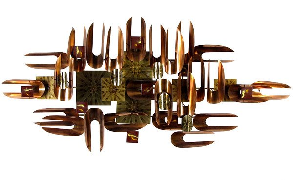 Copper and Brass and Enamel Wall Sculpture