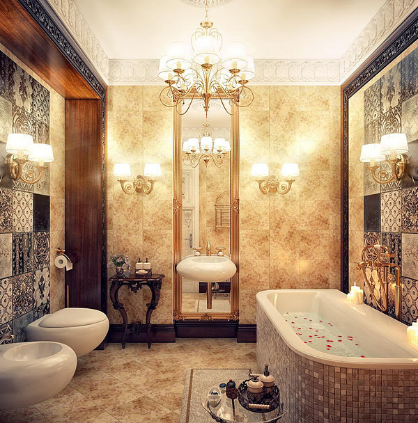 Classic Elegant Bathroom Flowers Roses Pearls: 20 Luxurious And Comfortable Classic Bathroom Designs