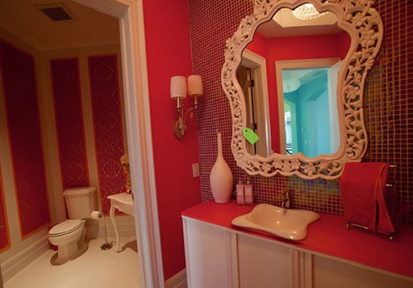 contemporary Pink Bathroom