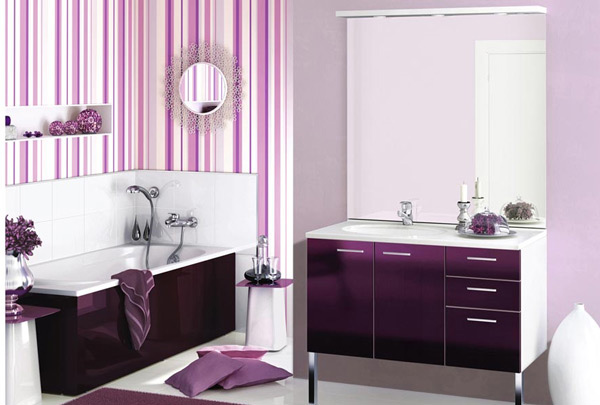 Purple And White Bathroom Accessories