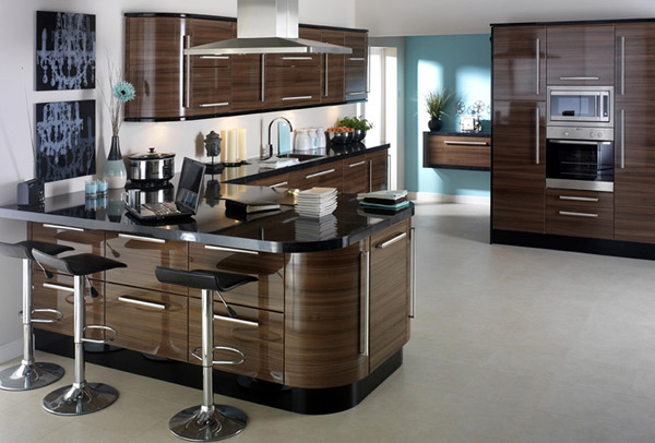 earth-toned gloss kitchen