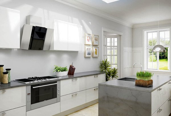 17 white and simple high gloss kitchen designs home for Best brand of paint for kitchen cabinets with family wall art ideas