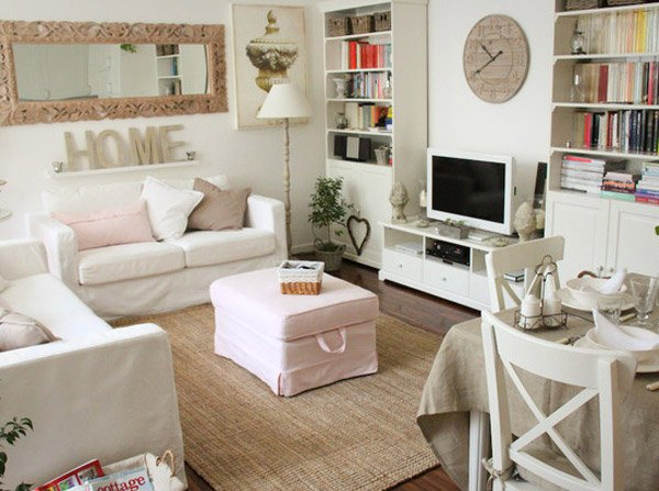 Distressed yet pretty white shabby chic living rooms for Trendy living room