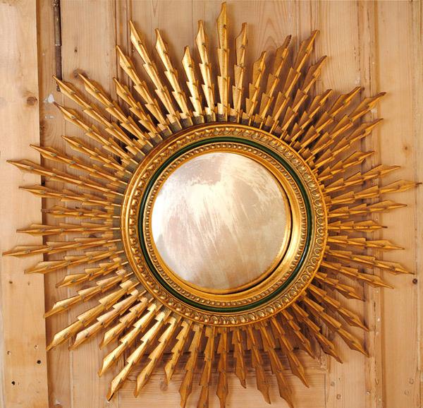vintage Convex Sunburst Mirror