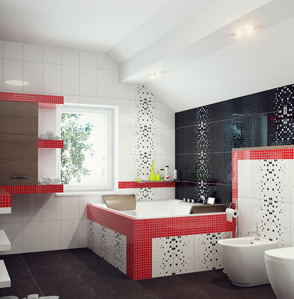 red, black and white tiles