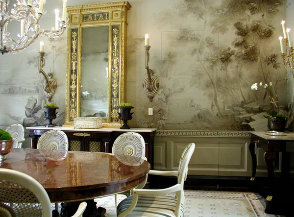 20 conventional dining rooms with wallpaper murals home for Dining room mural wallpaper