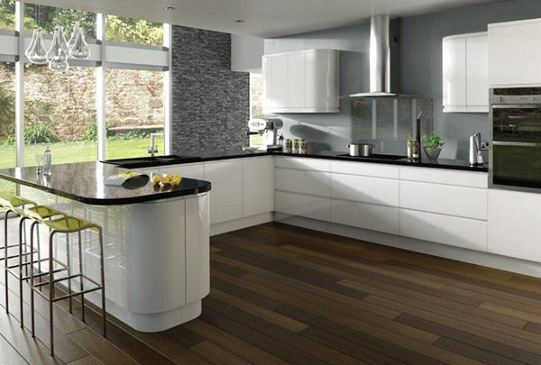 17 white and simple high gloss kitchen designs home for White gloss kitchen wall cupboards