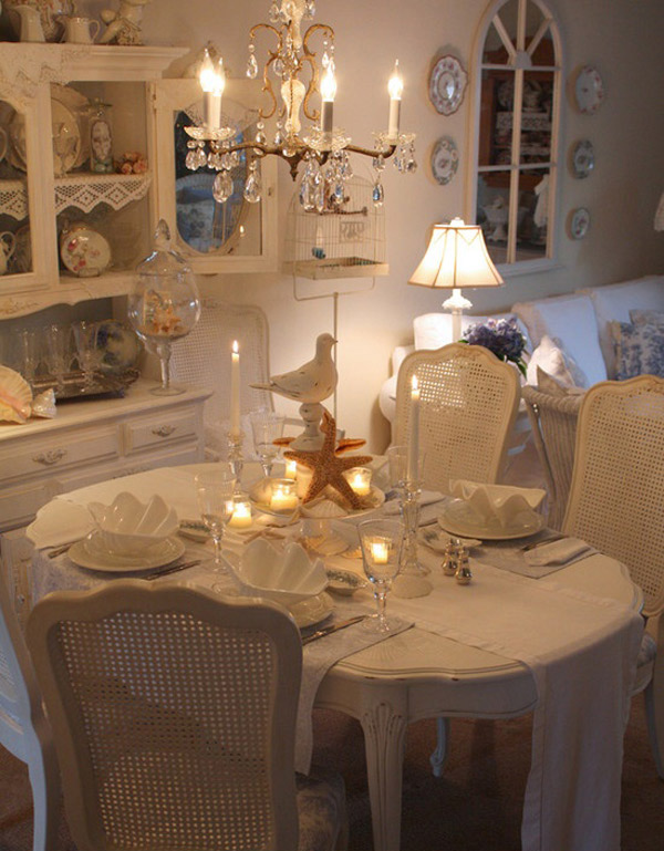 Romantic Room Setting: 15 Pretty And Charming Shabby Chic Dining Rooms