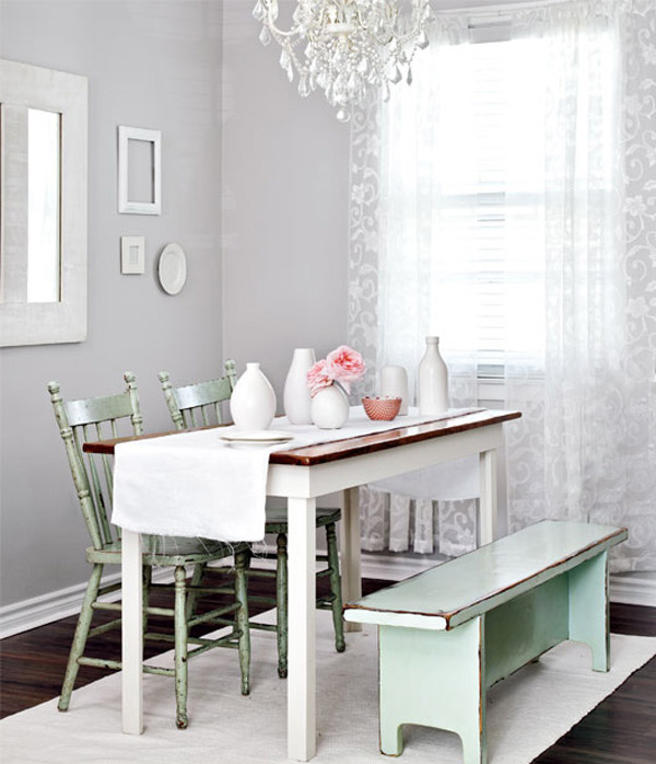 15 pretty and charming shabby chic dining rooms home - Mesas y sillas vintage ...