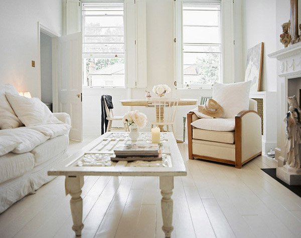 white furniture in living room distressed yet pretty white shabby chic living rooms 23619