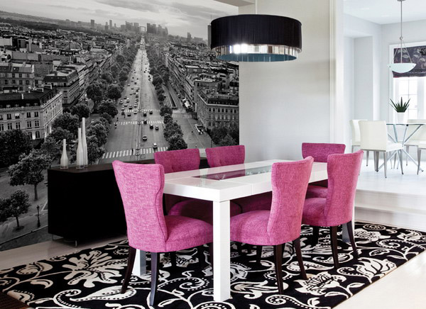 20 conventional dining rooms with wallpaper murals home for Modern wallpaper designs for dining room