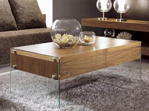 Gray And White Wood Coffee Table