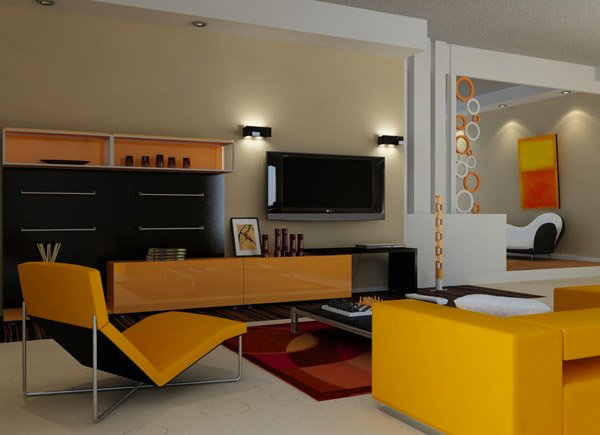 Retro U2013 Modern Orange Living Room