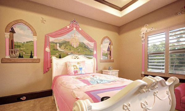15 pretty and enchanting girls themed bedroom designs for Princess themed bed