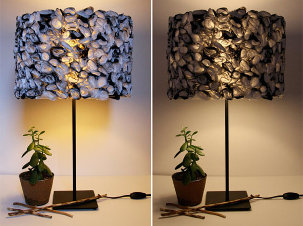 Ruffled Black and White Lamp Shade
