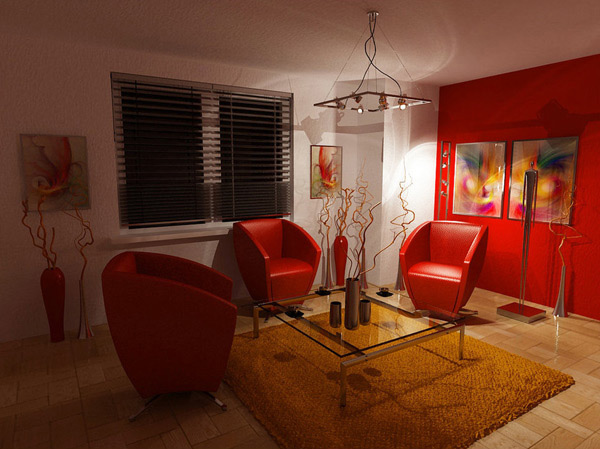 Living Room Night 15 red themed living room designs | home design lover