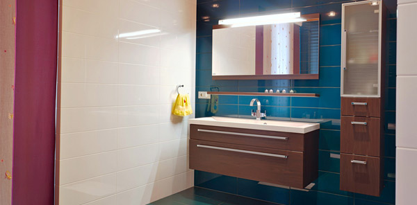 Use space under the lavatory for storage