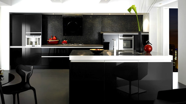 Black And Gray High Gloss Kitchen Designs Home Design Lover - Dark grey gloss kitchen