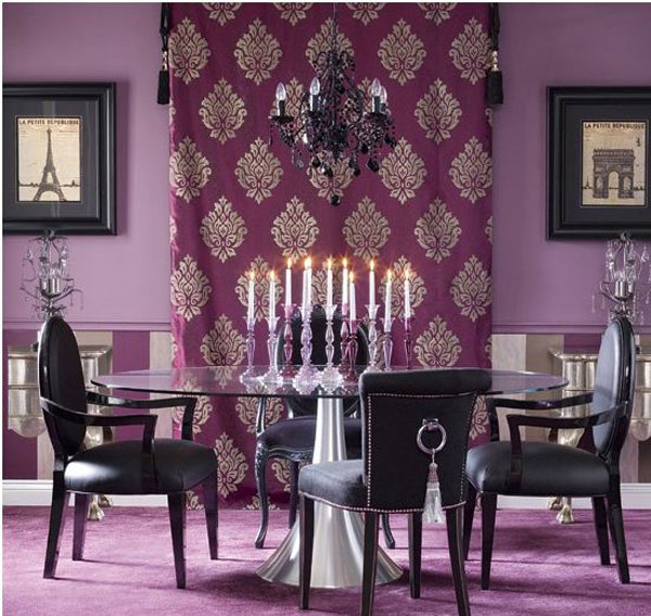 15 purple dining room ideas home design lover for Purple living room wallpaper