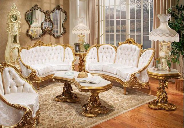 New Victorian Living Room. White And Gold Furniture