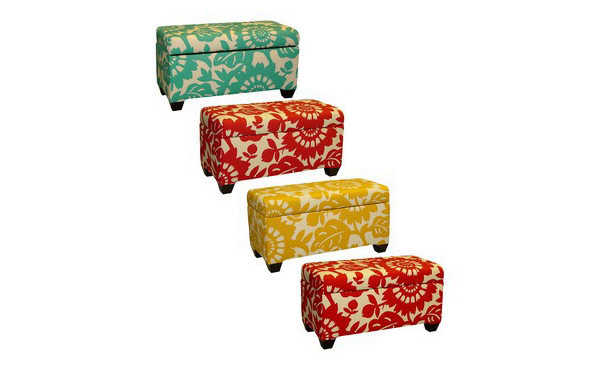 Accent Cube Ottoman Foot Rest - Geometric Print