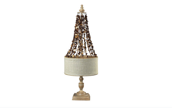 Bleached Wood and Dark Shell Lamp