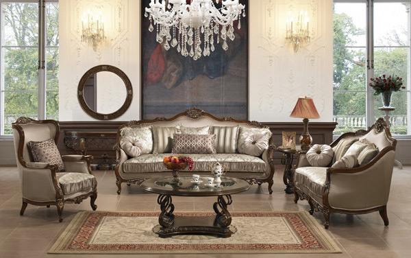 Century Victorian Living Room. Gray Silver Fabric