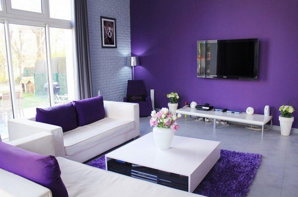 15 catchy living room designs with purple accent home for Dark purple living room ideas