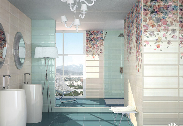 15 lovely bathrooms with decorative wall tiles home for Fancy bathroom wall tiles