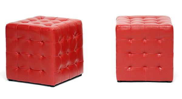 Siskal Red Modern Cube Ottoman