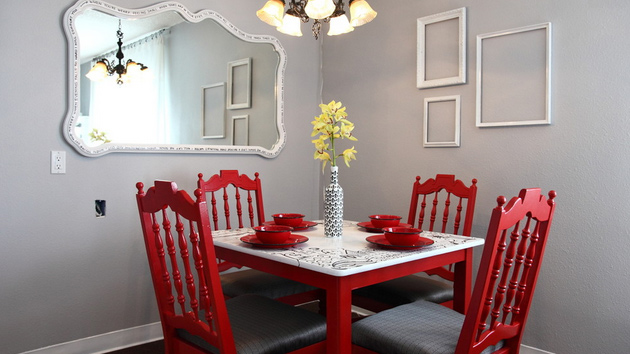 15 appealing small dining room ideas home design lover for Big dining table in small space