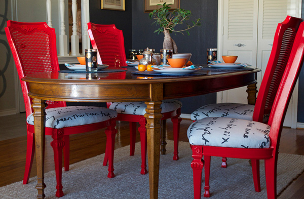 DIY Upholstered15 Dining Room Designs with a Red Touch   Home Design Lover. Red Dining Chairs And Table. Home Design Ideas