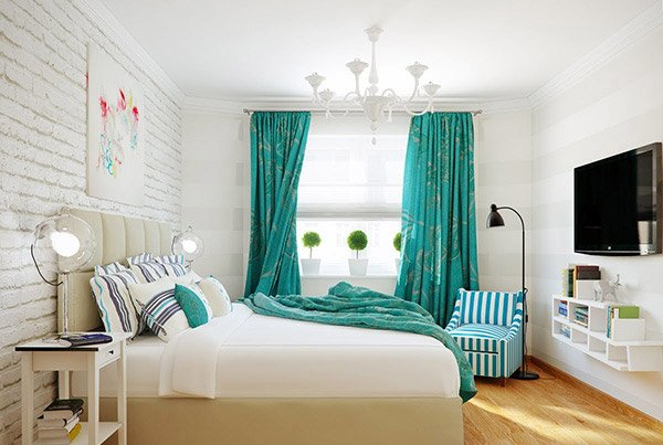 Turquoise White Stripe Bedroom