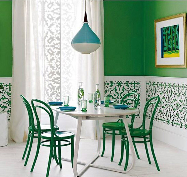 Green and White Fretwork