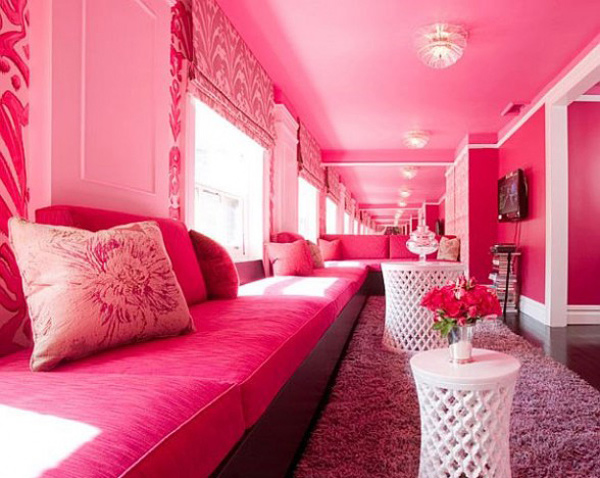pink colored walls