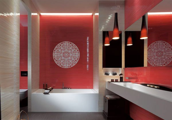 red bath wall design
