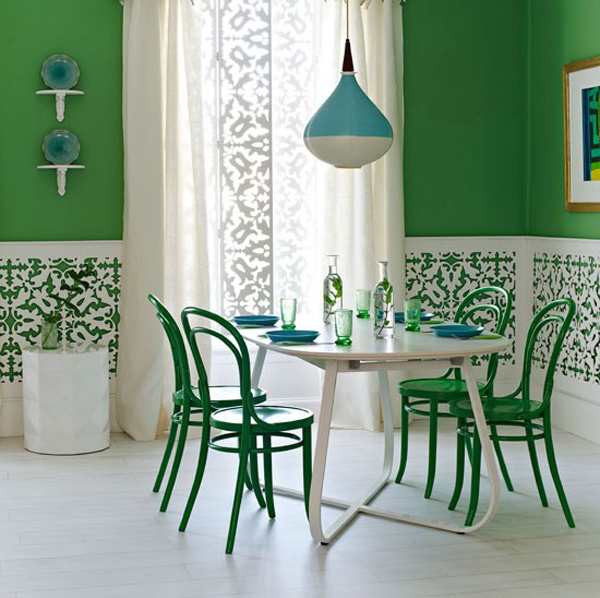 Green Dining Room: 15 Pretty Green Accentuated Dining Room Designs