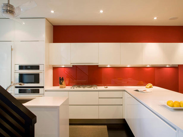 red painted kitchen