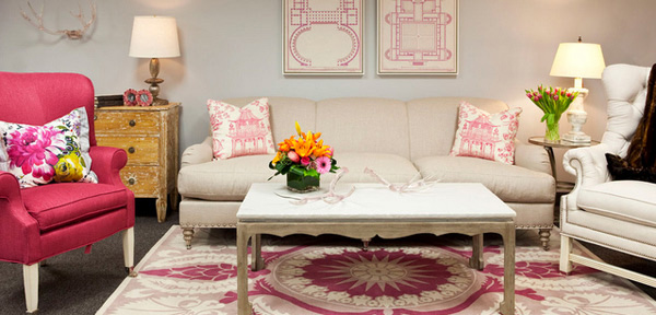 Pink Living Room Chairs. feminine design 15 Pretty in Pink Living Room Designs  Home Design Lover