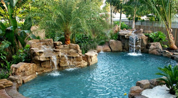 swimming pool waterfalls